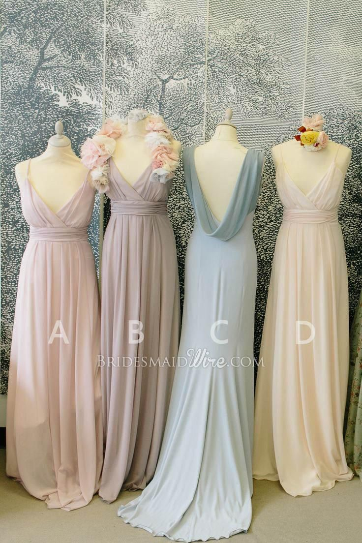 muted color vintage low cut v neck long  chiffon  bridesmaid  dress ... 8aea89f4d