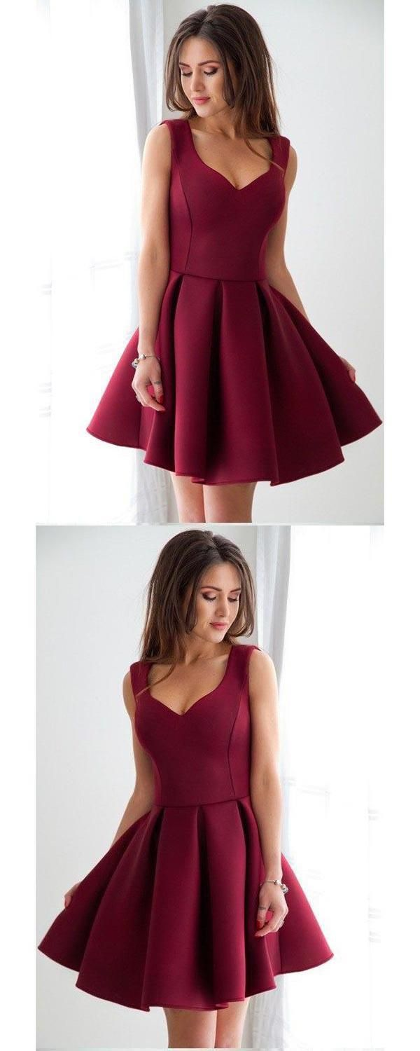 Burgundy short okdr homecoming dresses