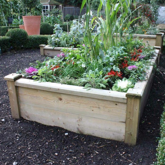 Hochbeet Design Holz Pflanzen Kombinieren | Garten | Pinterest ... Auswahl Balkonpflanzen Kombiniert