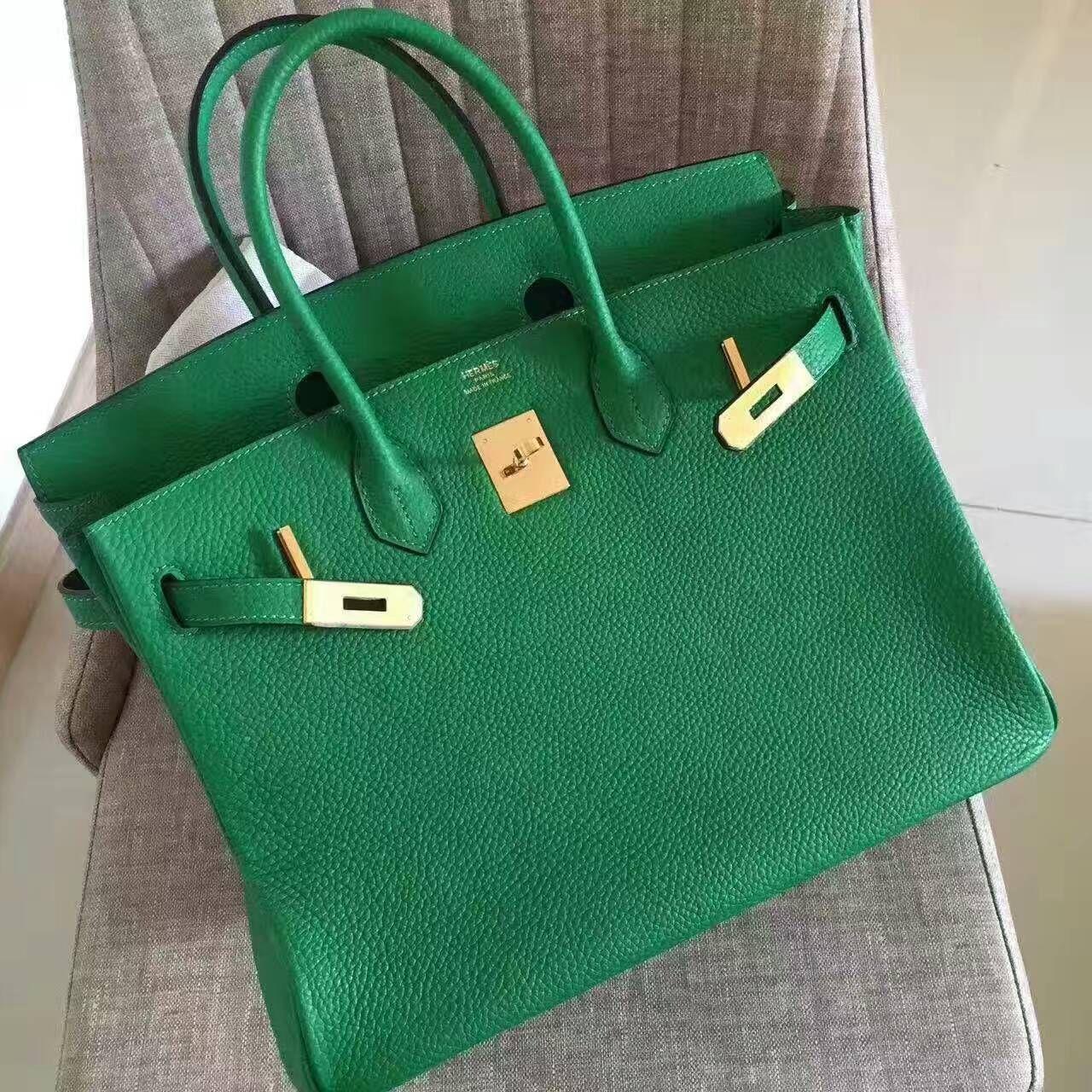 889d7221846 Hermes Birkin 35CM Original Togo Leather Handbag H1099 Bamboo Green(Gold  Hardware Size  W35 x H28 x D18cm)