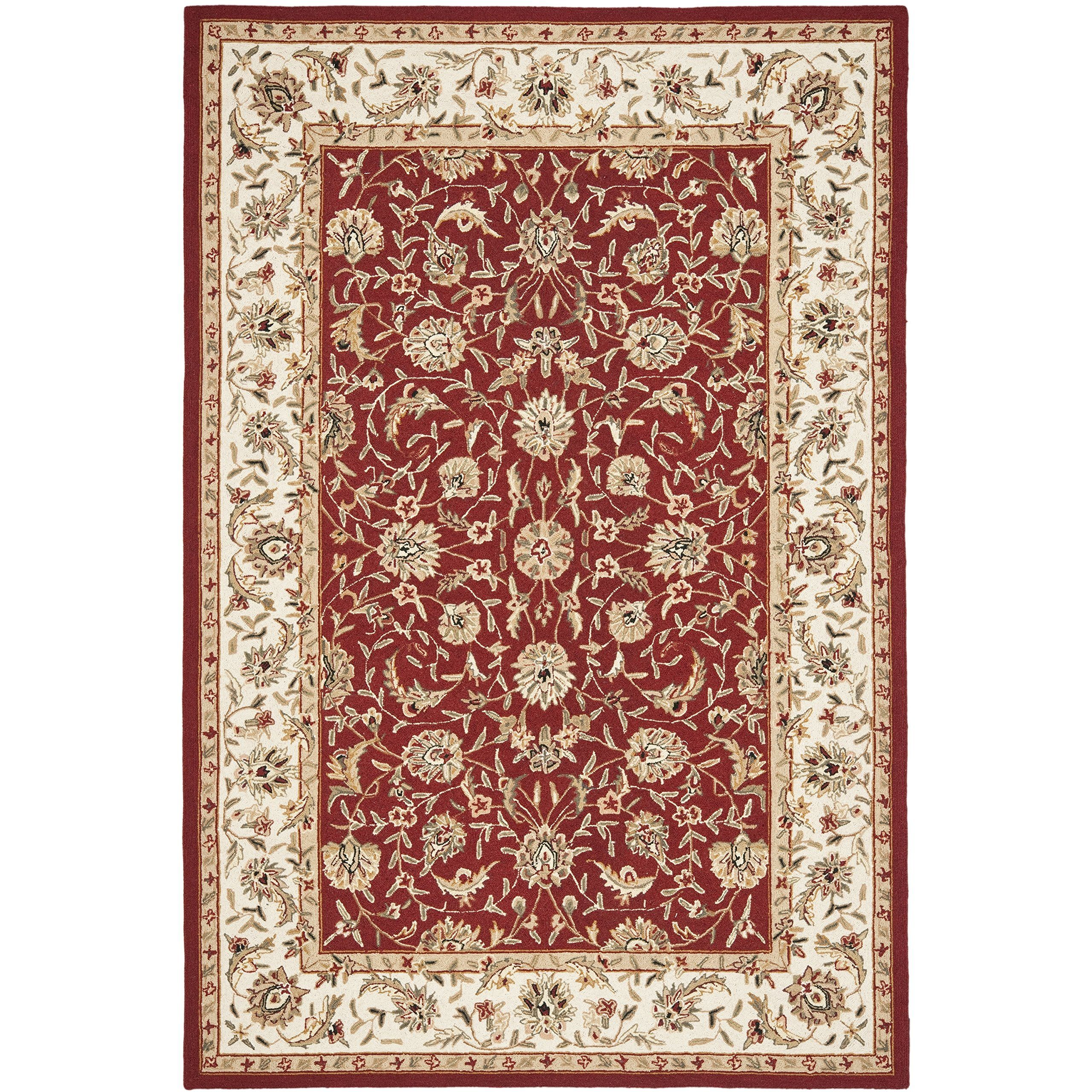 Safavieh Chelsea Collection Hk78b Hand Hooked Burgundy And Ivory Premium Wool Area Rug 6