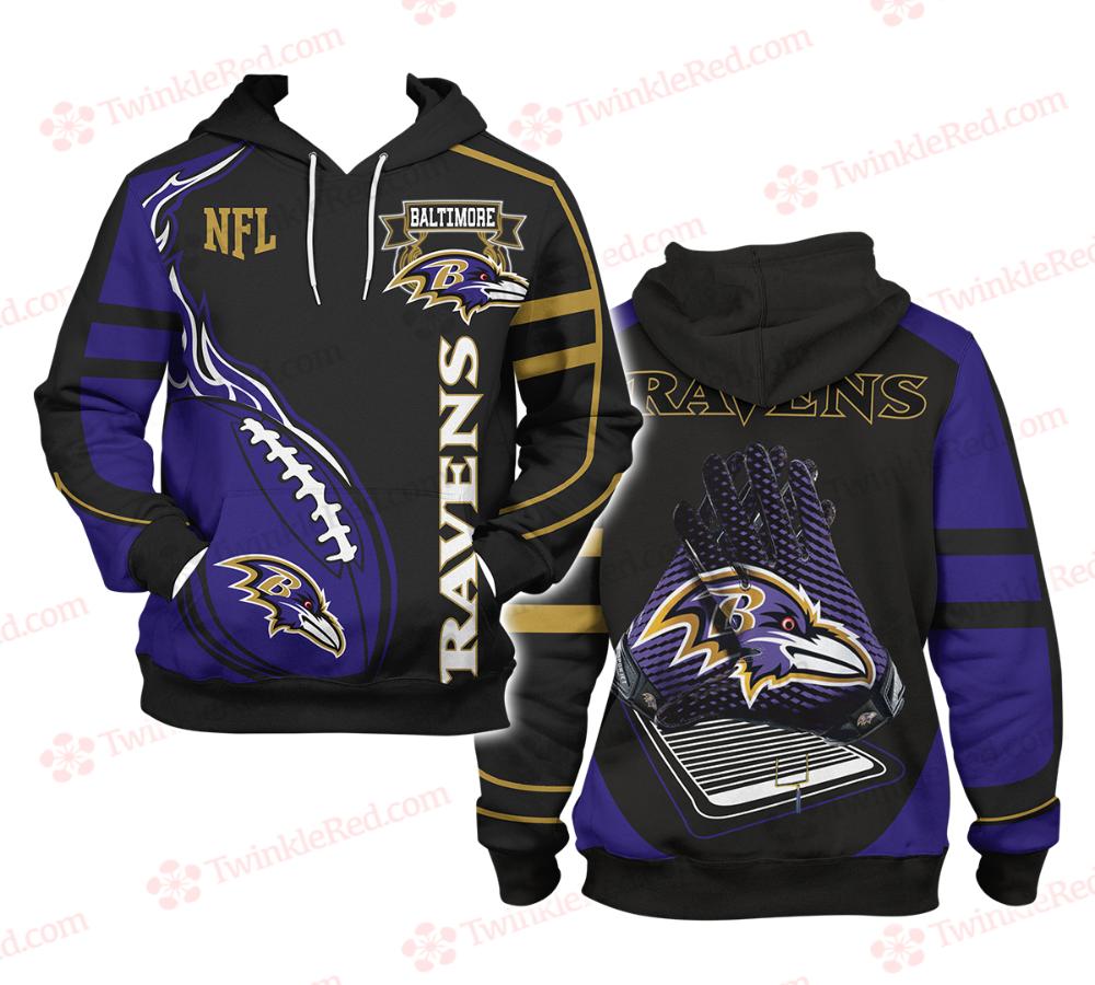NFL Football Baltimore Ravens Men's Hoodie TwinkleRed