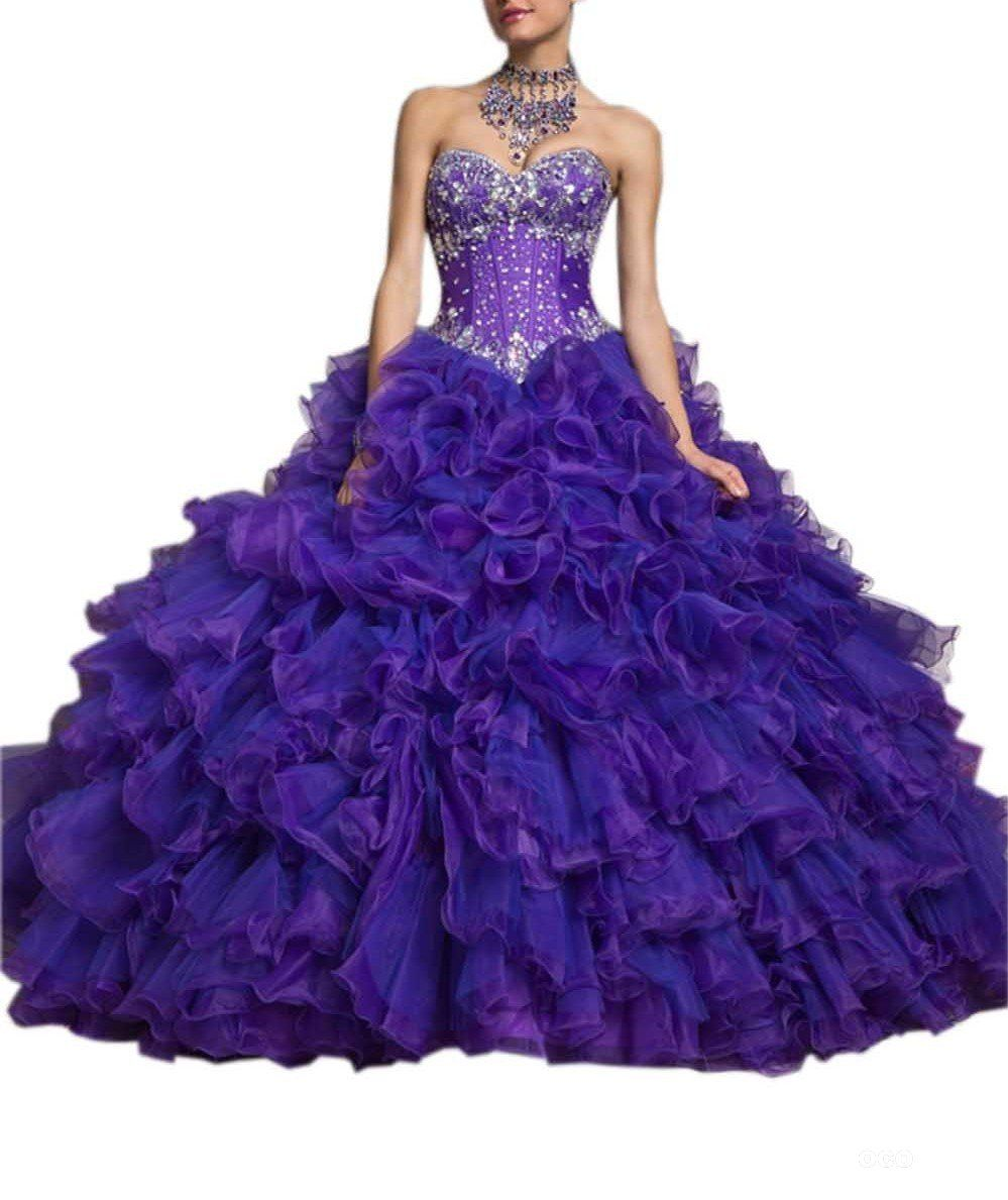Blue and purple wedding dress  Fanny Womens Ruffles Quinceanera Dress With Jacket  Rhinestone