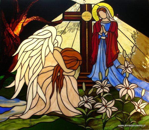 Witraże Tiffany Galeria Anna Danowska Witraż do nagrobka 60 x 70 cm