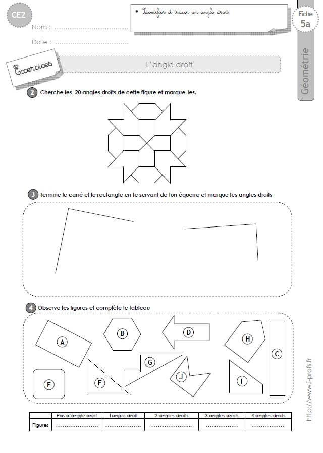 CE2: Exercices LES ANGLES DROITS | Math ce2-cm1