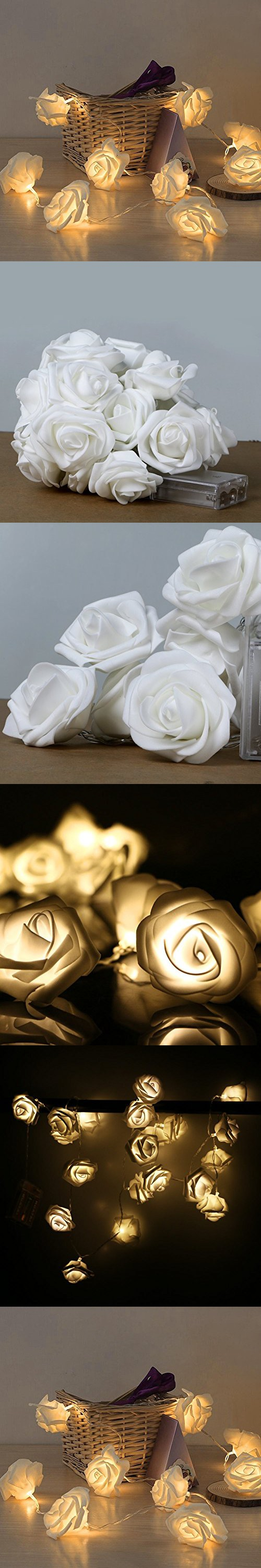 Lily's Gift 20LED Warm White Rose Flower Fairy String Lights Clear Cable Battery Powered for Valentine's, Wedding, Bedroom, Indoor Decoration