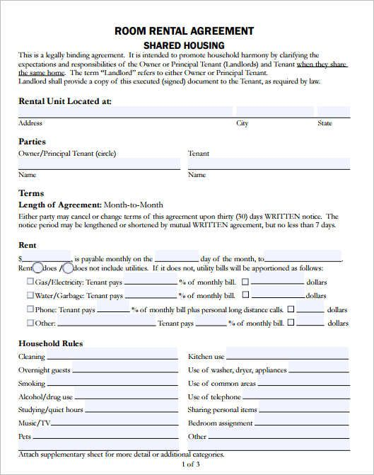 Room Rental Agreement Template Template Room Rental Agreement