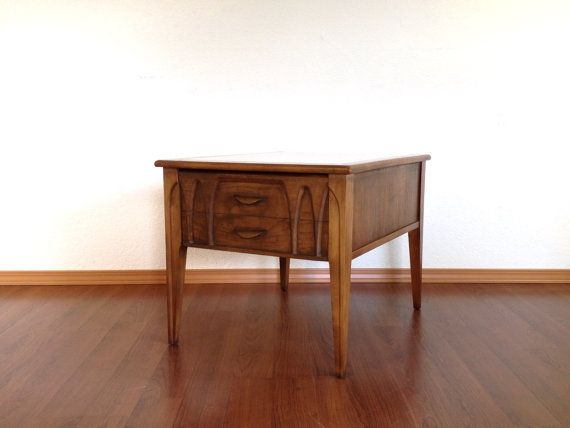 Vintage Mid Century Modern Marble Top Side Table With Drawer