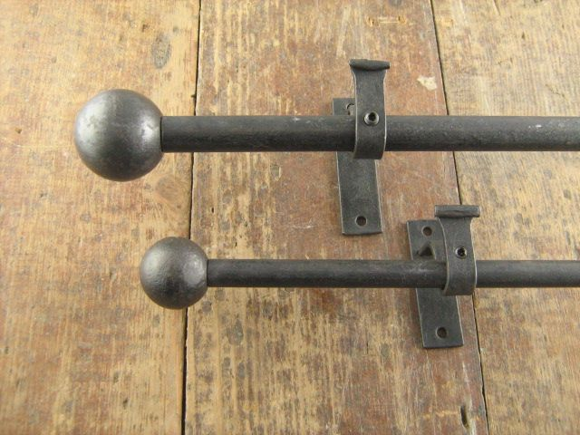 Pair Curtain Pole Finials Ball End Two Sizes Iron Curtain Rods