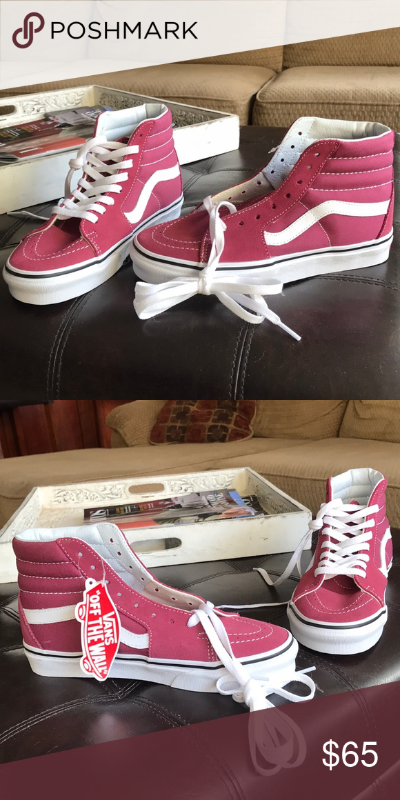 2f805ebb6574 Limited release Vans Sk8-Hi's in a light burgundy These have never been worn  and the reason I'm selling this is because I bought the wrong size for my  ...