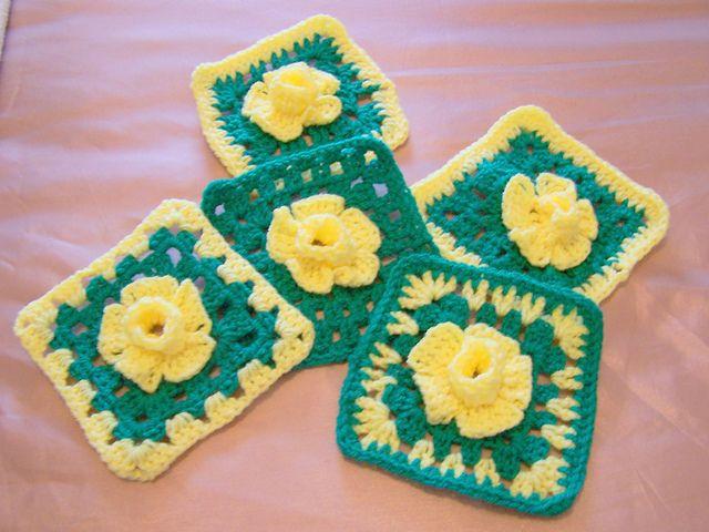 Daffodil Granny Square by karen kirkham ~ free pattern ...