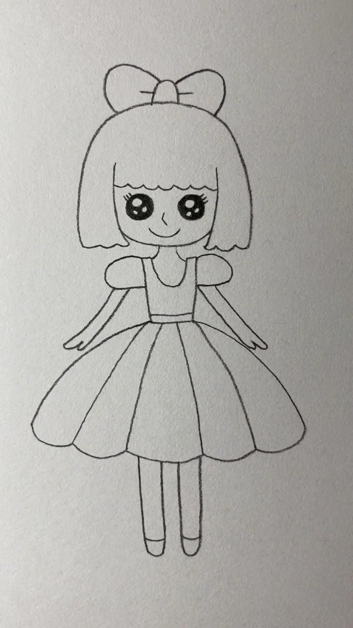 Easy Drawing Tutorial-How to Draw A Pretty Little Girl