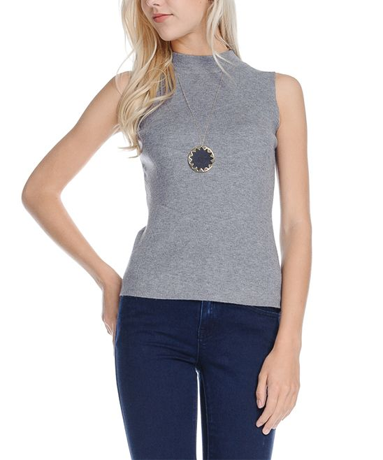 Gray Mock Neck Sleeveless Top