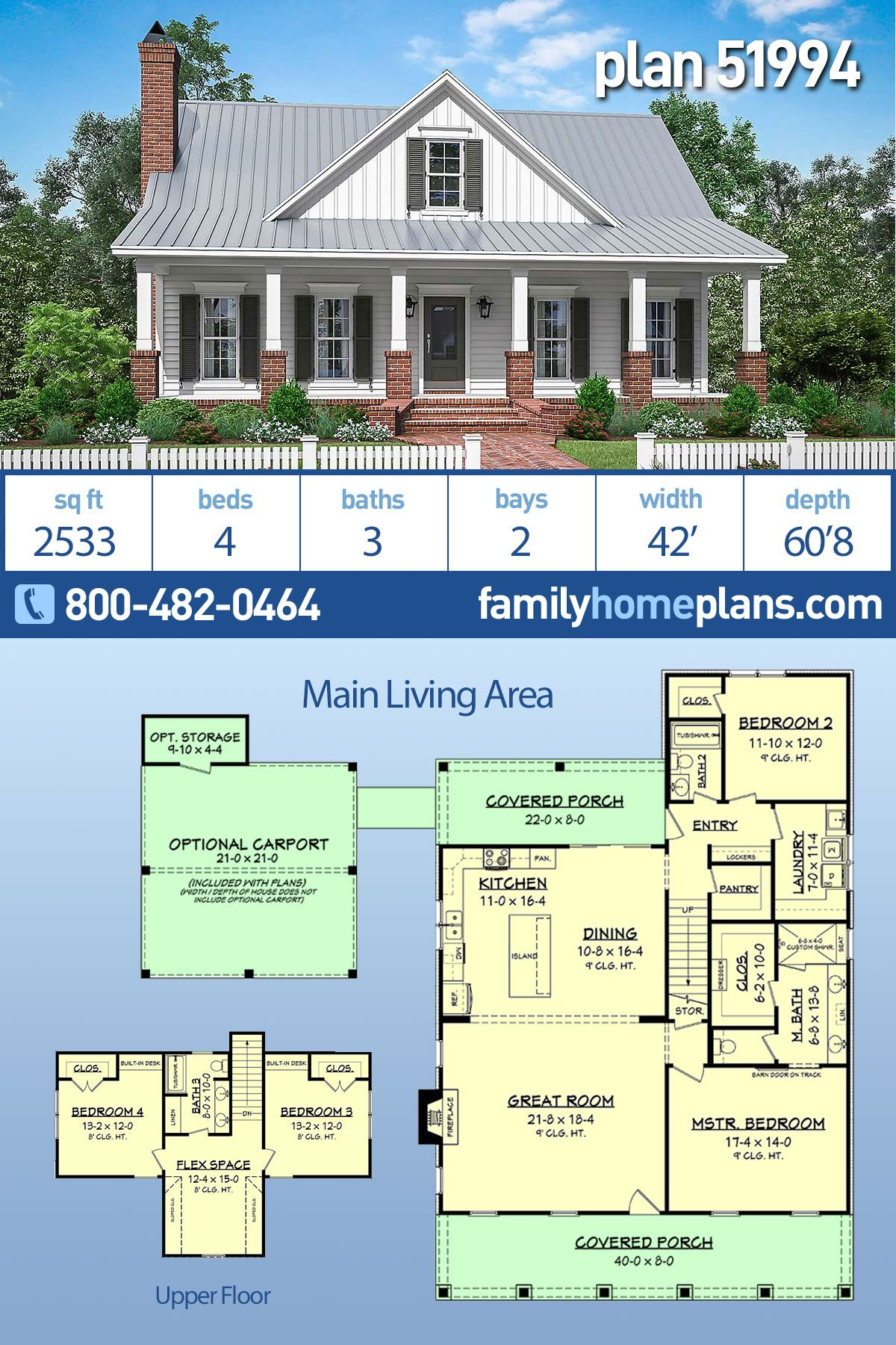 Traditional Style House Plan 51994 With 4 Bed 3 Bath 2 Car Garage Country House Plan Family House Plans House Plans Farmhouse