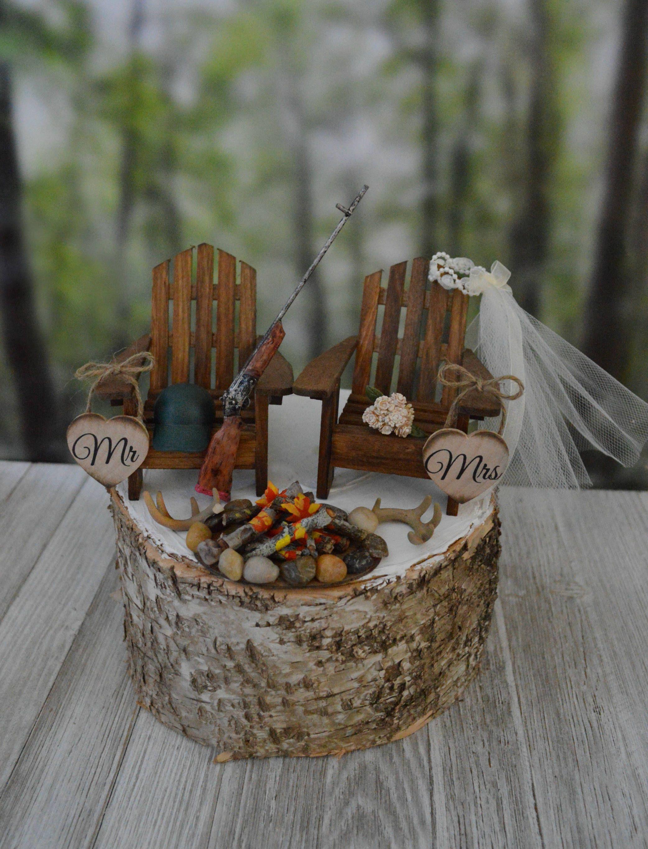 Deer hunter wedding cake topper hunting themed bride groom