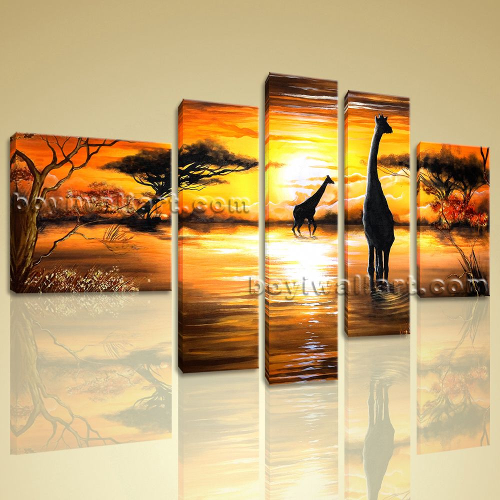 Huge Abstract Landscape Wall Art Print On Canvas HD Giraffe Sunset ...