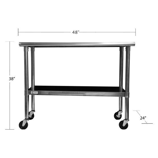 NSF Stainless Steel Prep Table With Wheels