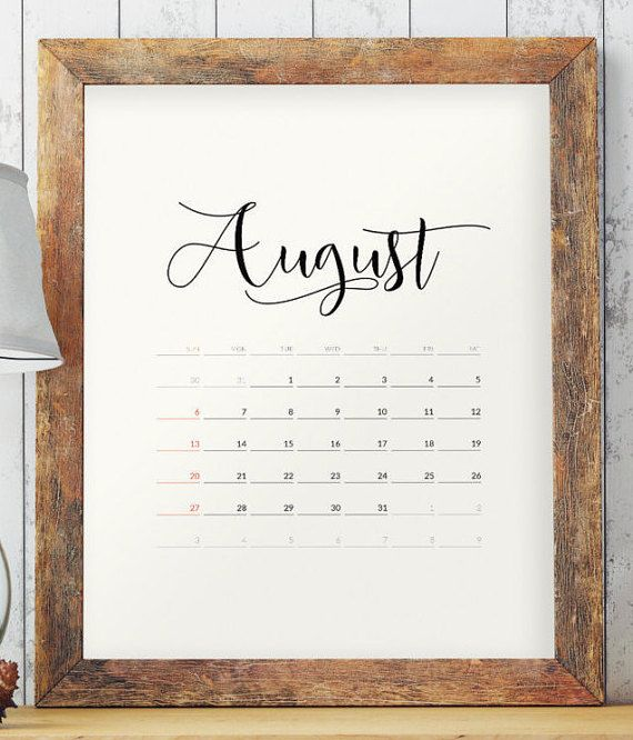 Minimalist Calendar  Calendar Printable By Twobrushesdesigns