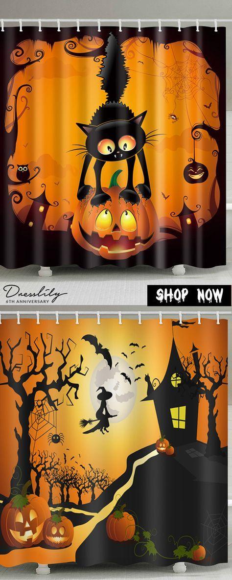 f1317d8fbf4 Buy 2 get 15% off. Halloween Pumpkin Cat Print Waterproof Bathroom Shower  Curtain.  dresslily  halloween  showercurtain