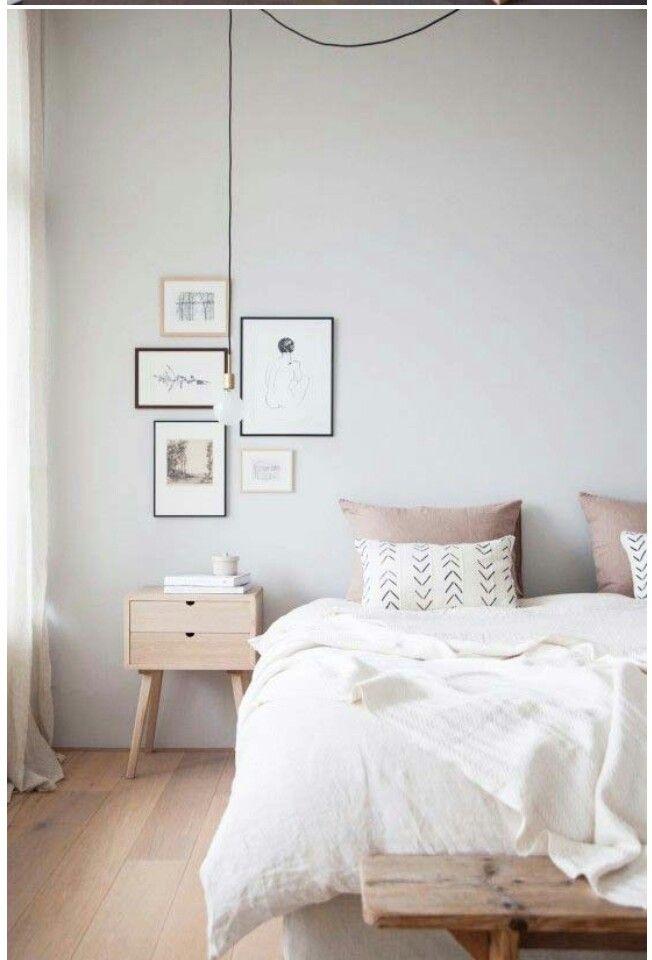 Lichte eiken houten vloer in de slaapkamer - Scandinavische style ...