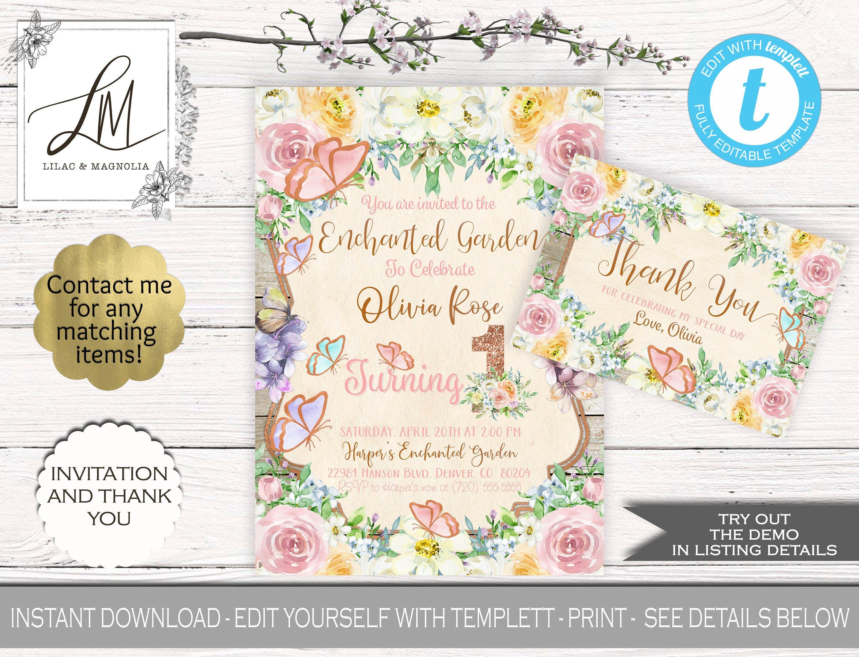 Enchanted Garden EDITABLE INVITATION Set, Flower Garden