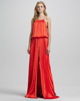 bc34f52b4e6 Liana Lace-Back Silk Pleated Maxi Dress by Alexis at Neiman Marcus ...