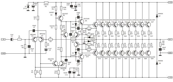 1000 Watt Amplifier APEX 2SC5200 2SA1943 | Audio amplifier, Electronics  circuit, Electronic circuit projects | 1000w Amplifier Circuit Using Transistor |  | Pinterest