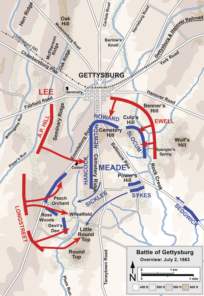 Gettysburg Battle Map Day 2 Overview Map Of The Second Day Of The Battle Of Gettysburg July 2 1863