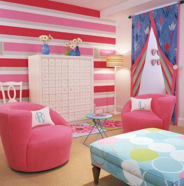 luxus jugendzimmer für mädchen rosa wanddeko sessel   KINDERZIMMER ...
