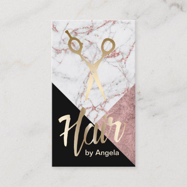 Hair Stylist Gold Scissor Modern Marble Hair Salon Business Card | Zazzle.com