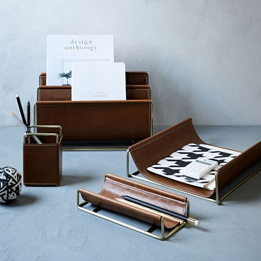 Faux Leather Br Office Accessories West Elm