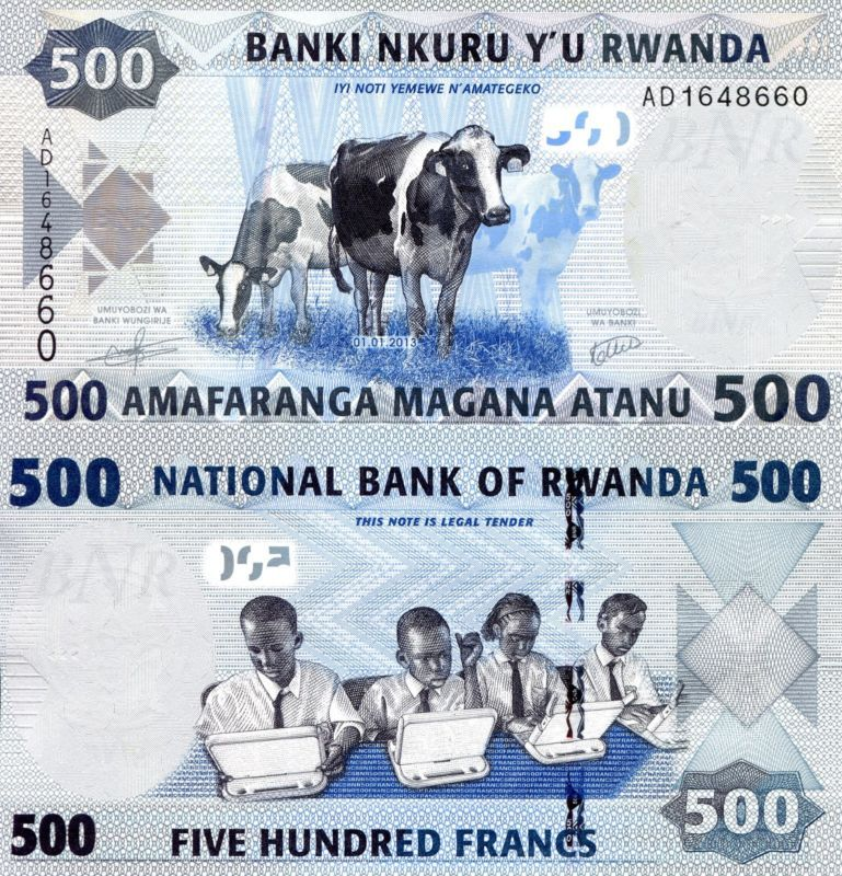 Rwanda 500 Francs Banknote World Paper Money Unc Currency Pick P 38 Cows Bill Bank Notes Banknotes Money Paper Money