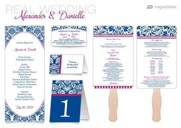 Blue and Pink Damask Dream wedding invitation suite and reception stationery from MagnetStreet Weddings {wedding program fan, tea length dinner menu, escort cards, table numbers}