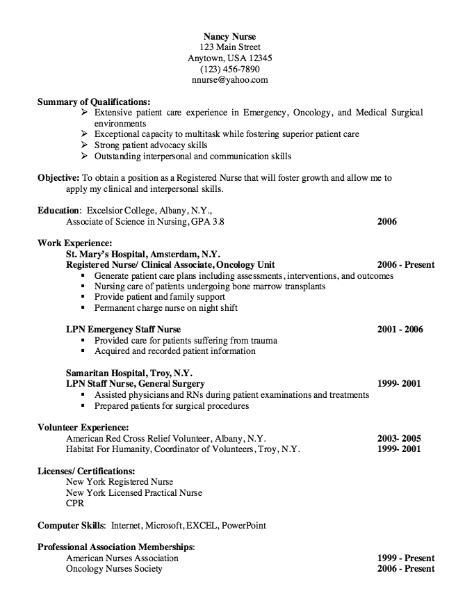 oncology nurse resume