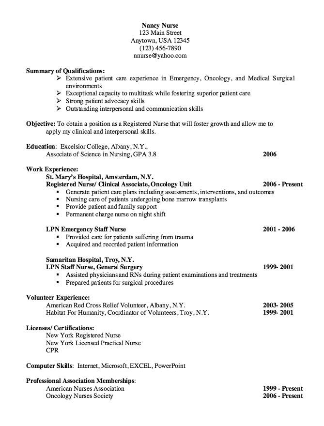 Oncology Nurse Resume Free Resume Sample
