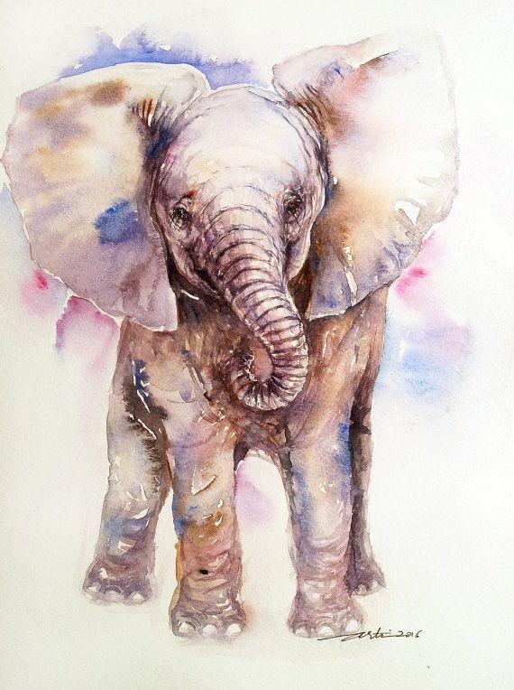 Baby Elephant Original Watercolor Painting Wall Art Handmade