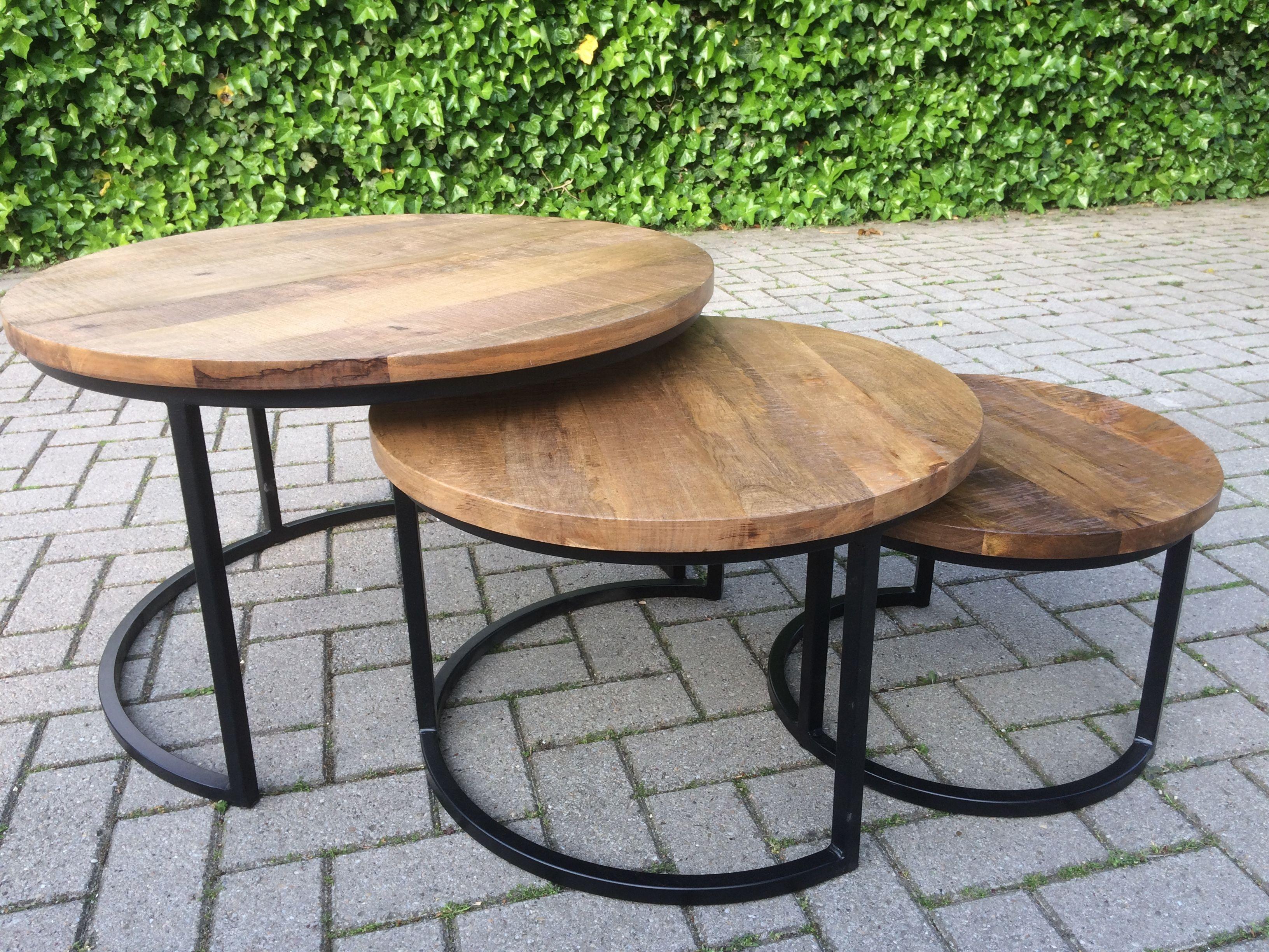 Salontafel Industrieel Rond Set.Set Salontafels Mangohout Furniture Home Living Room Living