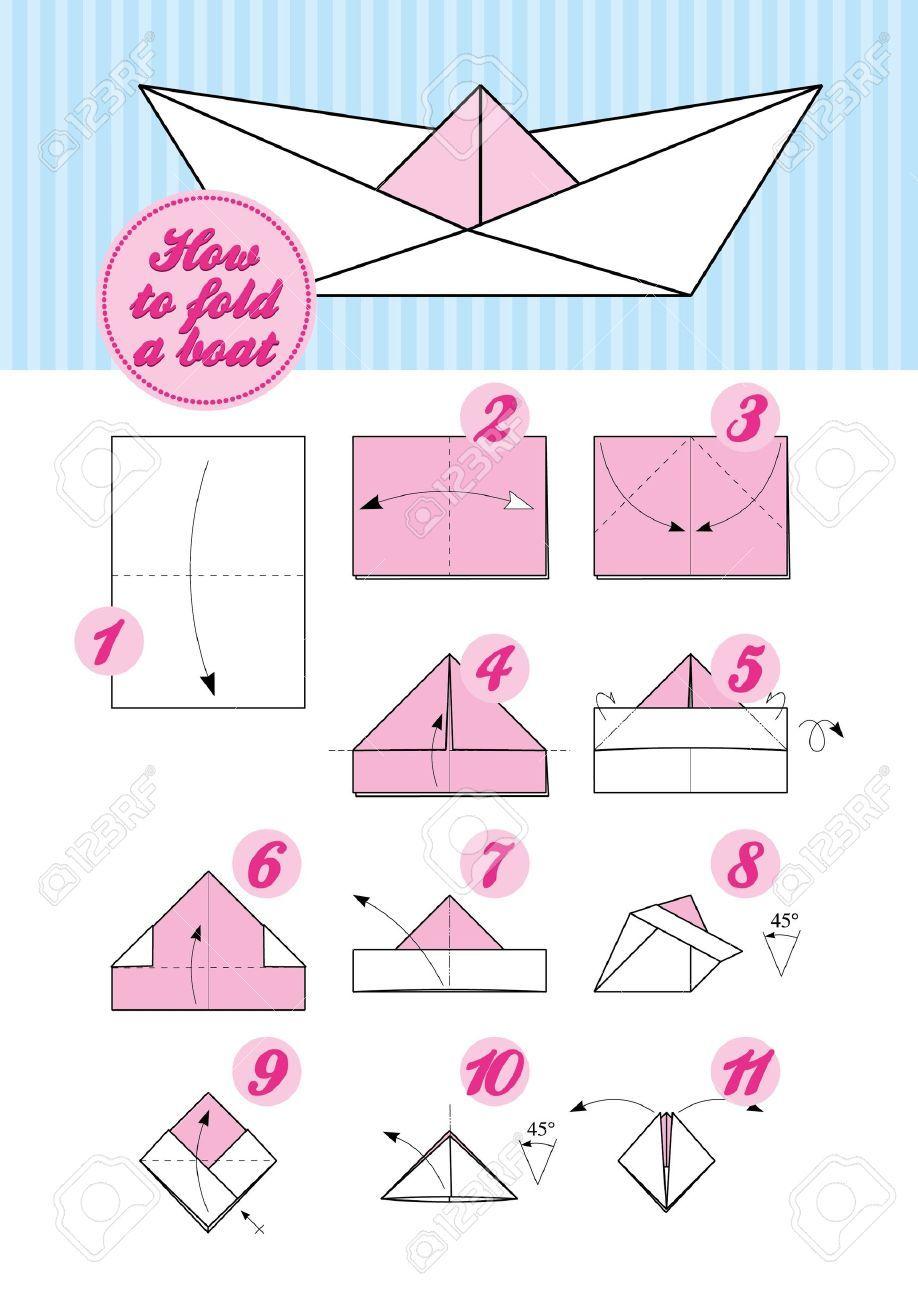 Instructions Etape Par Etape De Pliage Du Papier Comment Faire Un Bateau D Origami Japonais Traditionnel Origami Japonais Bateau Papier Pliage Bateau