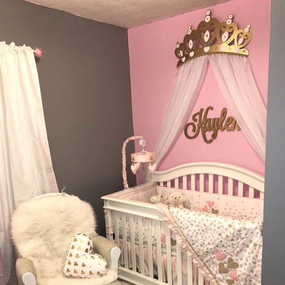 Crib Crown Canopy Wall Decor Gold with Sheer Panels & Crib Crown Canopy Wall Decor Gold with Sheer Panels | Canopy Wall ...