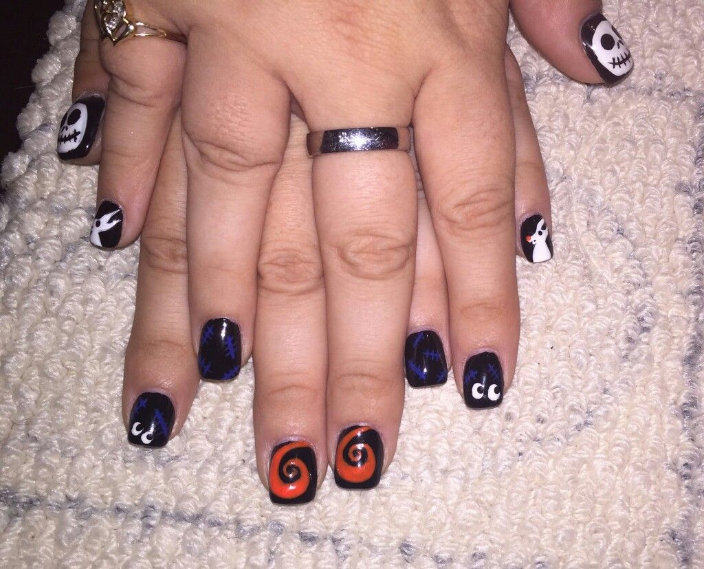 Halloween Nail Design Acrylic Nails With Hand Painted Nail Art And
