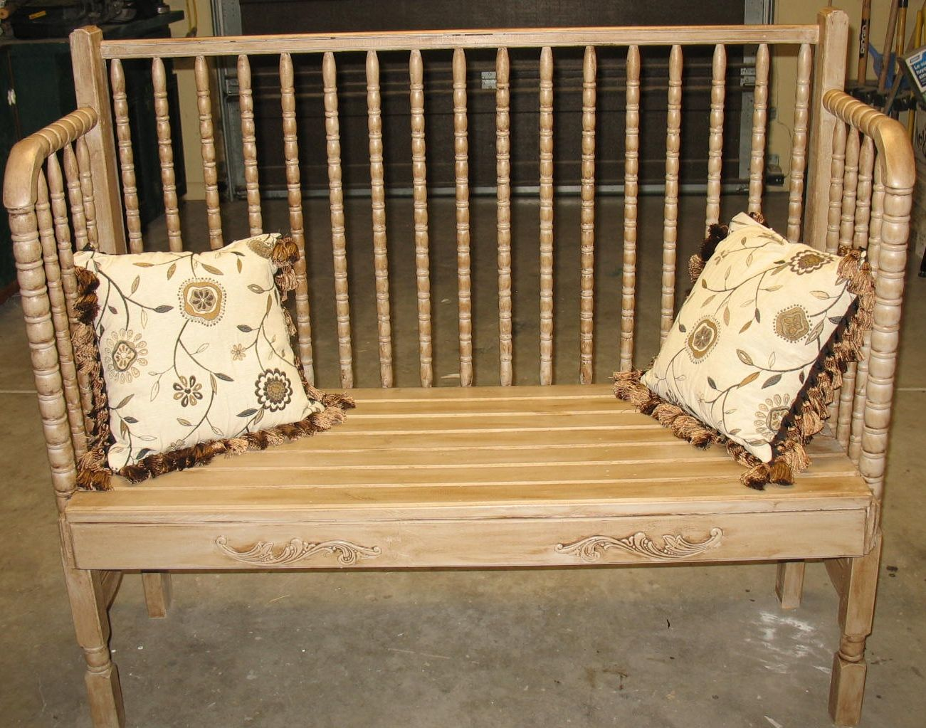 Jenny Lind Crib Bench, With Tan Chalk Paint, Brown Antiquing Wax And Shellac