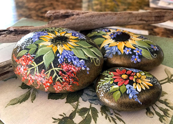 Painted Rock, Sunflower Rock, California Beach Rock, Hand Painted Rock Art is part of Painted rocks - Water Resistant this is a  made to order  item  Please allow 45 days to ship (weekends excluded),  slight differences may appear due to rock formation and free hand painting stones edges have been lightly brushed with gold, creating an iridescent effect ships from a smoke free environment  sizeapprox  2 5 3 00 width See more items here  TanaBarisoff etsy com