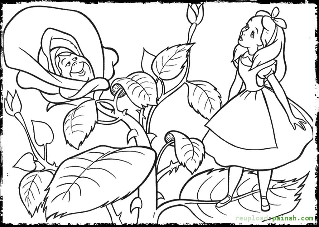 Alice In Wonderland Coloring Pages And Flower Alice In Wonderland Flowers Alice In Wonderland Drawings Cartoon Coloring Pages