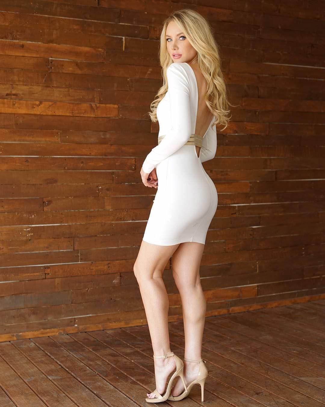 Sexy Blonde Tight Dress Beautiful Adult Stock Photo