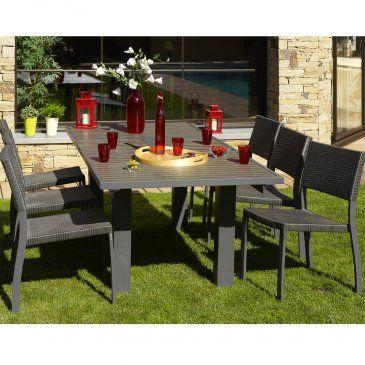Table en aluminium cappuccino composite 160/220 lames foncées x 100 ...