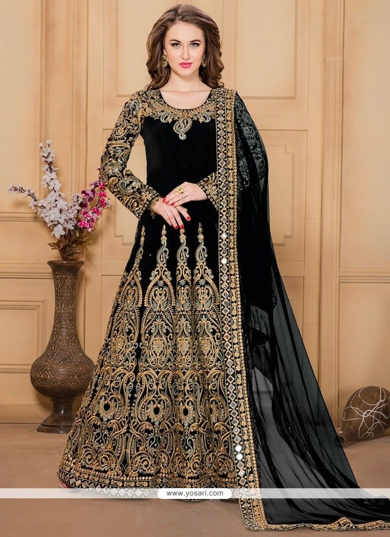 Masterly embroidered work designer floor length suit model yos