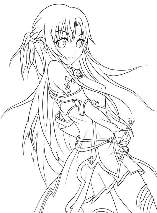 Yuuki Asuna Lineart. by juvjuv | sword art online | Dibujos, Anime ...
