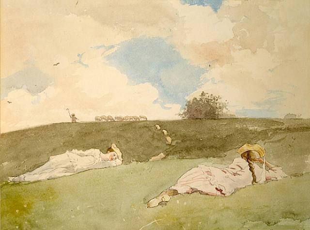 "Shepherdesses Resting by Winslow Homer.  ""Winslow Homer (February 24, 1836 – September 29, 1910) was an American landscape painter and printmaker, best known for his marine subjects. He is considered one of the foremost painters in 19th century America and a preeminent figure in American art."""