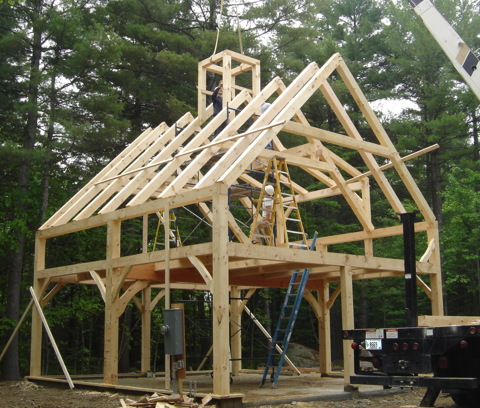 Pre cut timber frame totry in 2015 pinterest cabin for Pre built barn homes