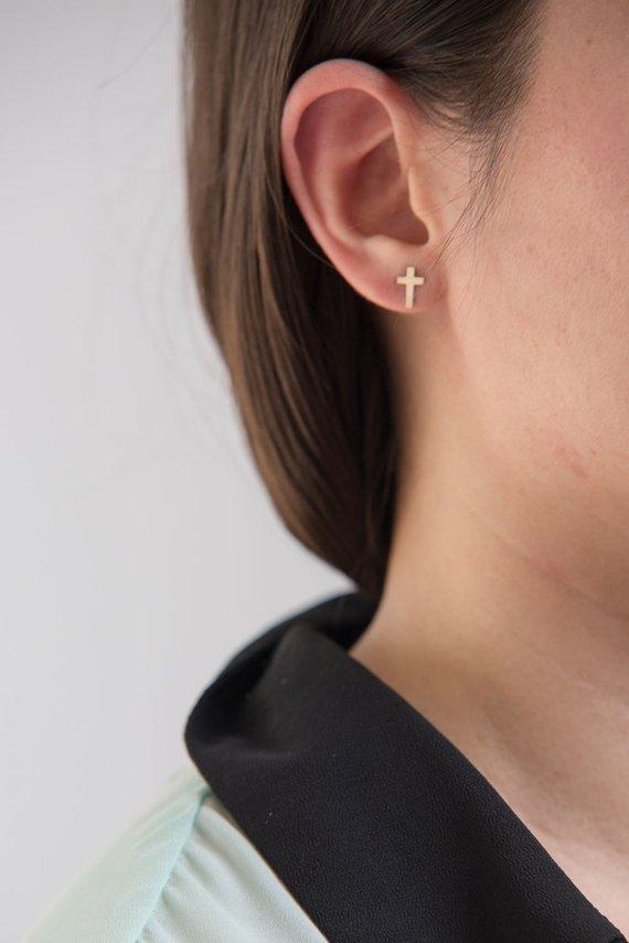 905d7d04d Gold Filled Tiny Dainty Cross Stud Earrings, Cross Stud Earrings, Tiny Gold Stud  Earrings, Everyday